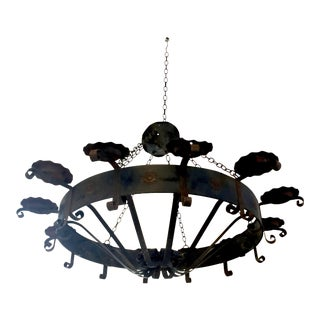 Vintage Black Wrought Iron Gothic Chandelier