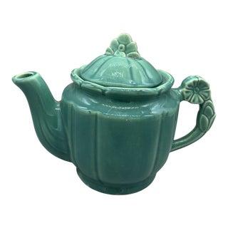 1940s Art Deco Shawnee Florette Teal Tea Pot For Sale