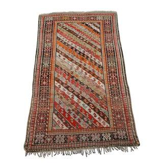 Antique Kurdistan Hand Made Tribal Rug - 4' X 7' For Sale