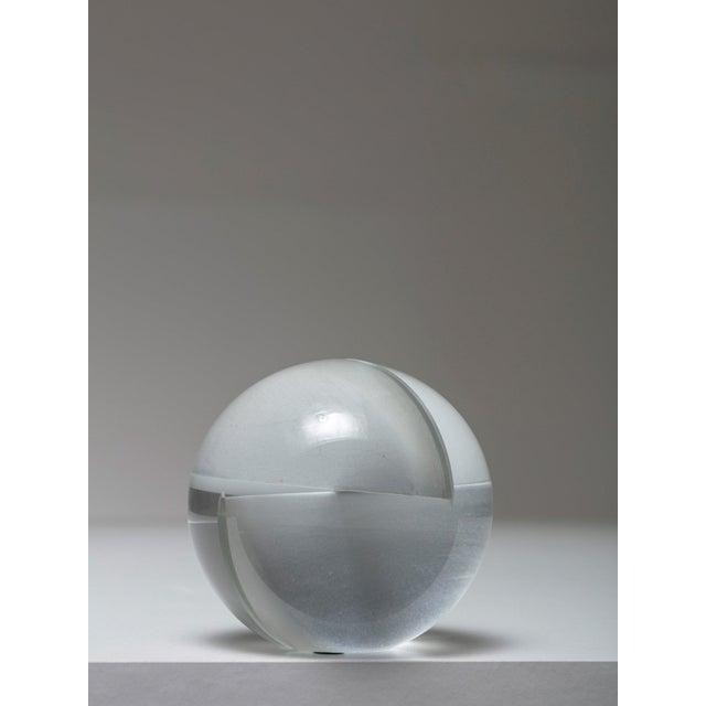 Gorgeous crystal sphere by Floris Meydam for Leerdam Solid glass sculpture generated by two orthogonal cuts.