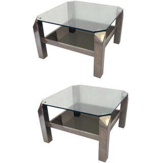 Lancel Chrome and Glass Side Tables - A Pair For Sale