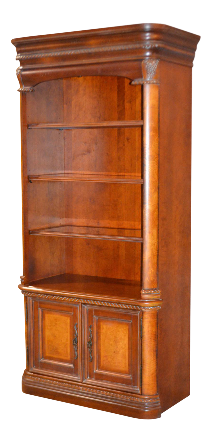 Tall Tuscan Style Lighted Open Display Cabinet