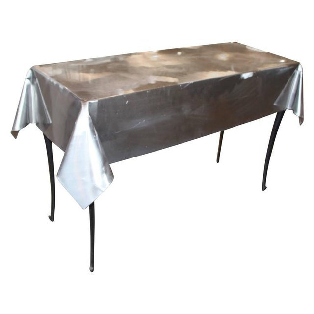 Metal Draped Console Table With Legs For Sale - Image 9 of 9