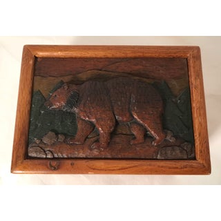 20th Century Lodge Wooden Carved Top Bear Box Preview