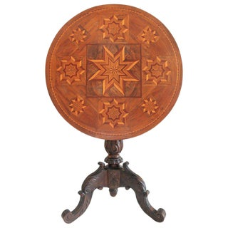 Antique Table With 19th Century Marque Inlaid Stars Top For Sale