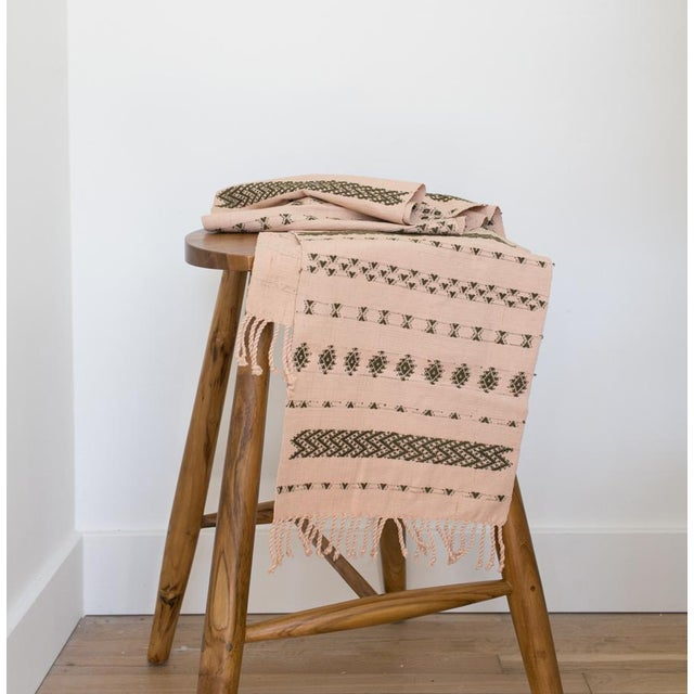 Contemporary Handwoven Guatemalan Dusty Rose and Olive Green Table Runner For Sale - Image 3 of 6