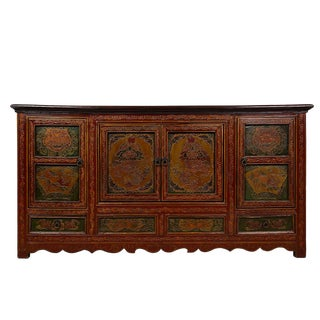 1910s Tibetan Painted Cabinet/Buffet Table For Sale