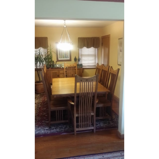Solid Quatersawn Oak Mission-Style Dining Set - Set of 9 For Sale - Image 13 of 13