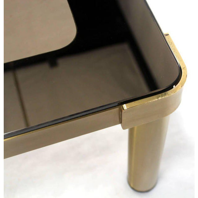 1970s Mid-Century Modern Brass and Two-Tone Glass Coffee Table by Mastercraft For Sale - Image 5 of 11