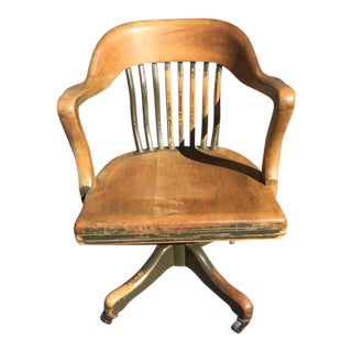 Solid Oak Vintage Office Chair For Sale