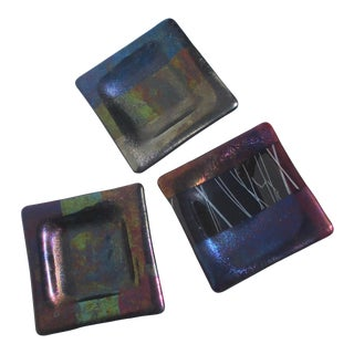 Dichroic Glass Desk Trays - Set of 3 For Sale