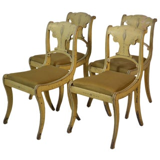 19th Century Set of Four English Small Painted Chairs For Sale