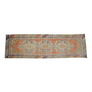"Vintage Distressed Oushak Rug Runner - 2'10""x 9'6"" For Sale"