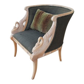 1980's French Empire Style Winged Swan Bergere Chair For Sale