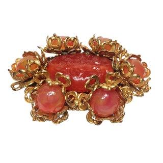 Miriam Haskell Orange Art Glass Brooch For Sale