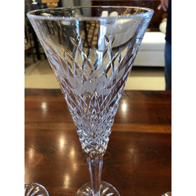 Glass Waterford Crystal 12 Days of Christmas Champagne Flutes- 12 Pieces For Sale - Image 7 of 12