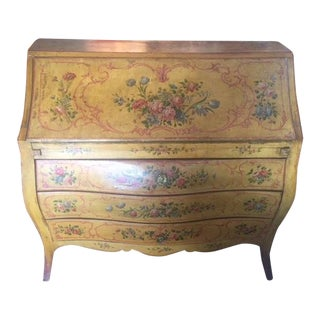Late 19th Century Vintage Italian Painted Commode Slanted Writing Desk For Sale