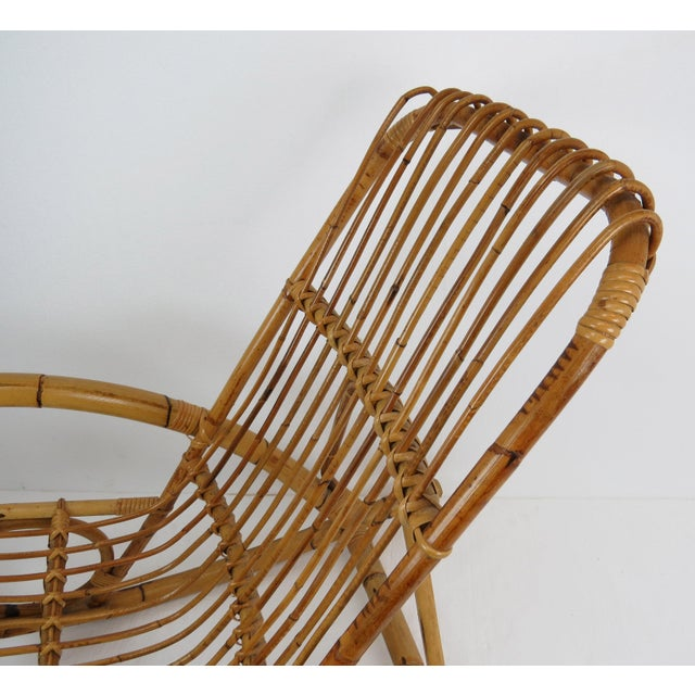 Vintage Franco Albini Style Bamboo Rocking Chair For Sale - Image 10 of 13