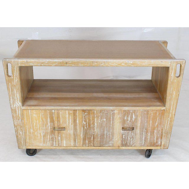 1970s Arts & Crafts Adze Cut Ceruised Oak Finish Serving Cart Bar on Wheels For Sale - Image 11 of 12