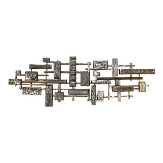 Vintage Syroco Brutalist Wall Hanging Metallic Mid Century Modern Wall Panel 3d For Sale