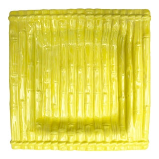 Yellow Ceramic Bamboo Plate For Sale