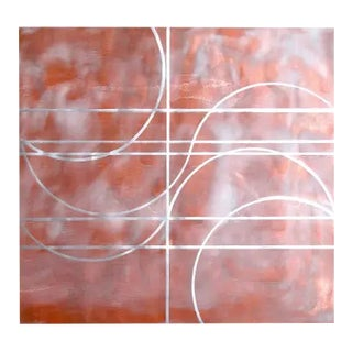 """Gudrun Mertes-Frady """"Cha_cha"""" Abstract Red, Copper, Metallic Painting on Paper For Sale"""