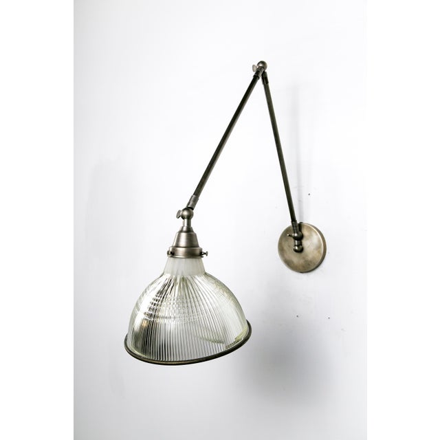 Industrial Reeded Holophane Shades as Armed Sconces For Sale - Image 3 of 12