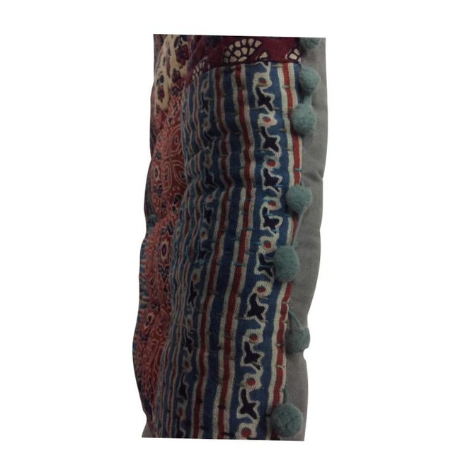 Boho Chic Bohemian Blockprinted Patchwork Yoga Pillow For Sale - Image 3 of 3