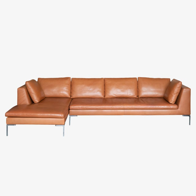 B&b Italia Charles Sectional in Cognac Leather by Antonio Citterio For Sale - Image 10 of 10