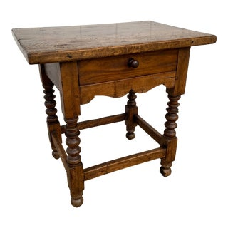 Vintage Turned Wood Night Stand Table For Sale