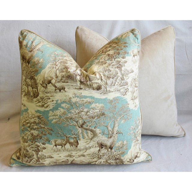 "Woodland Toile Deer & Velvet Feather/Down Pillows 25"" Square - Pair For Sale - Image 11 of 13"