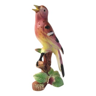 Mid-Century Pink & Yellow Perched Bird Figurine For Sale