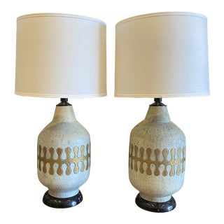 American Mid-Century Modern Ceramic Lamps - Pair For Sale