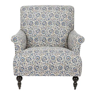 Kim Salmela Blue Foral English Chair For Sale