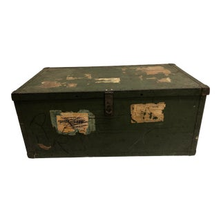 Vintage Industrial Green Military Foot Locker With Lid For Sale