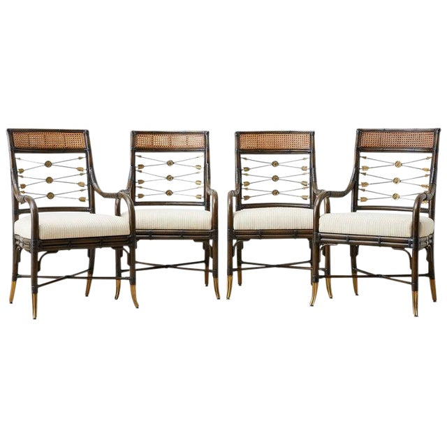 Set of Four Neoclassical Style Rattan Dining Armchairs For Sale