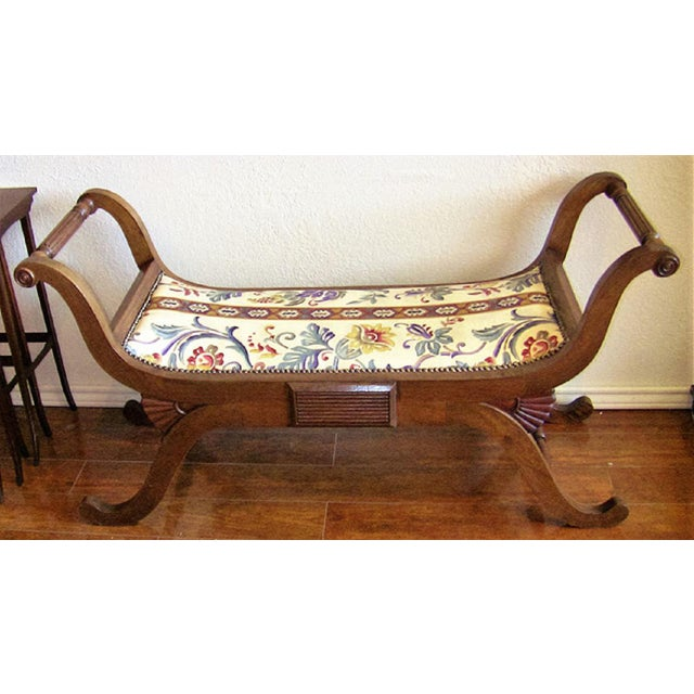 Wood Empire Style Bedroom Scroll End Bench Seats- A Pair For Sale - Image 7 of 13