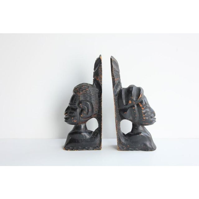 Primitive 1930's Antique Hand Carved Wooden Bookends- A Pair For Sale - Image 3 of 4