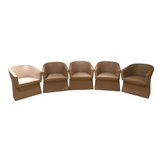 Viccarbe Grey Upholstered Leather Armchairs - Set of 5 For Sale