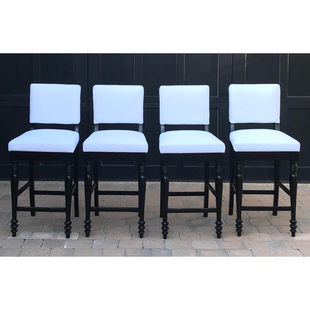 2000 - 2009 Black Oak Counterstool With Carolina Irving Patmos Stripe Reverse Slipcovers - Set of 4 For Sale - Image 5 of 13