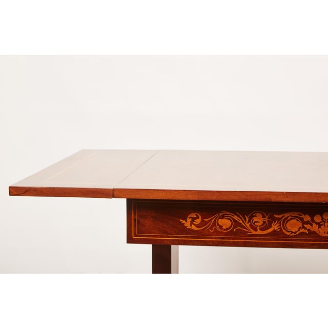 Empire 19th Century Danish Mahogany Empire Drop Leaf Table with Intarsia Inlay For Sale - Image 3 of 9
