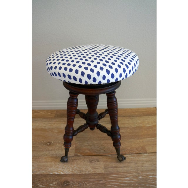 Vintage Turned Wood Piano Stool - Image 4 of 7