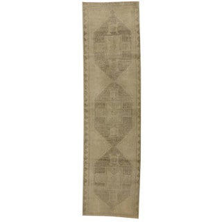 Turkish Oushak Carpet Runner with Modern Design and Muted 'Washed Out' Colors For Sale