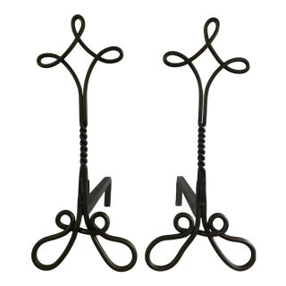 Vintage Wrought Iron Continuous Line Andirons - a Pair For Sale