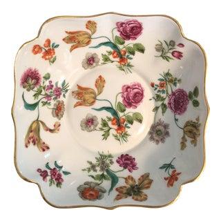 French Botanical Porcelain Bowl With Gilt Rim