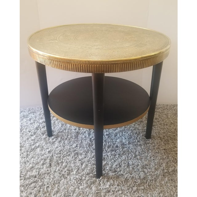 Vintage Egyptian Revival Brass Top Double Tiered Accent Table For Sale - Image 10 of 11