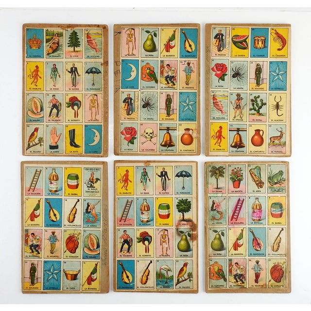 Vintage Mexican Loteria Bingo Cards - Set of 6 For Sale - Image 4 of 4