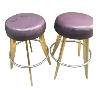 Vintage Space Age Mid-Century Modern Bar Stools- A Pair For Sale