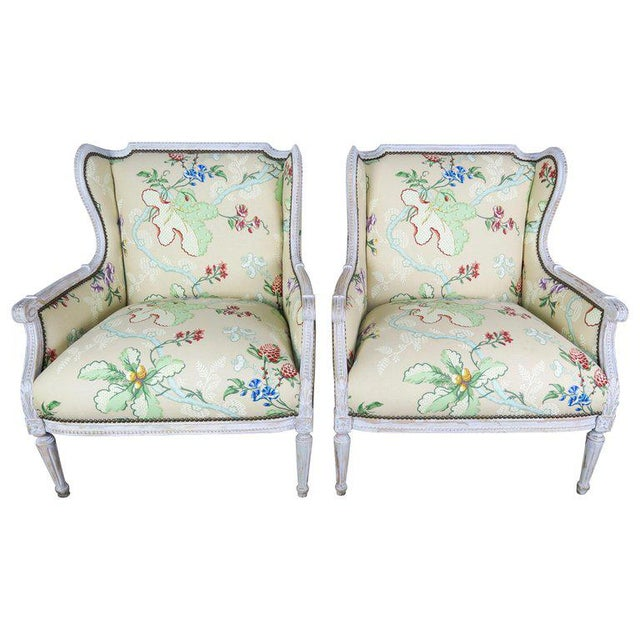 French Painted Brunschwig Fils Upholstered Wingback Armchairs