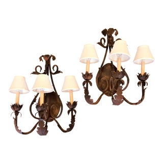 Vintage French Country Bronze 3-Candle Wall Sconces With White Linen Shades - a Pair For Sale